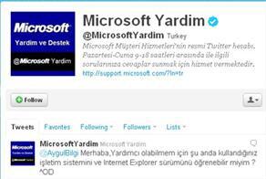 Microsoft Müşteri Hizmetleri Sosyal Ağlarda