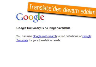 Google, Google Dictionary Hizmetini Kapattı