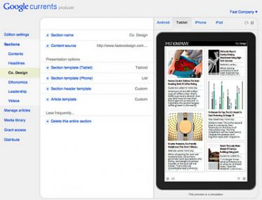 Google Currents Yayında