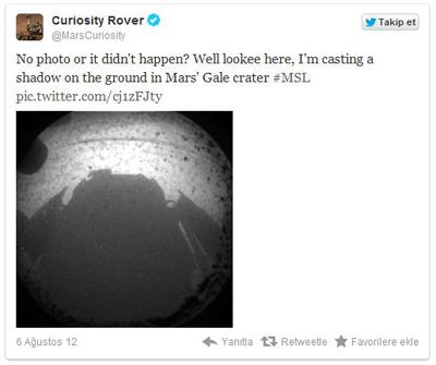 Curiosity Mars'ta, Haberleri Twitter'da