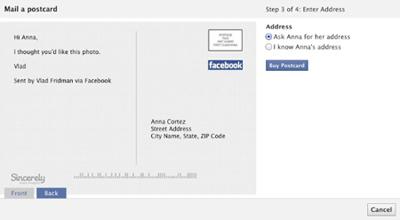 Facebook Posta Kartı İşine Giriyor