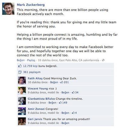 Facebook'un Nüfusu 1 Milyar Oldu!