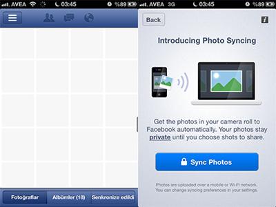 Facebook'tan Fotoğraf Senkronizasyonu