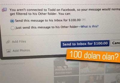 Facebook'ta Mesaj Göndermek 100 Dolar