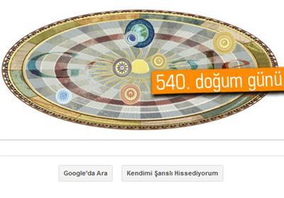 Google'dan Nicolaus Copernicus Doodle'ı