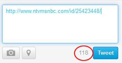 Tweet'lere 'URL' Sınırlaması