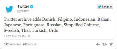 Twitter'ı Türkçe Kullananlar Da Artık Tweetlerini Arşivleyebiliyor