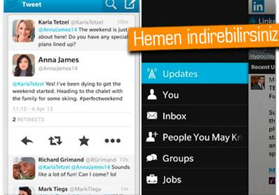 Twitter Ve LinkedIn'e BlackBerry 10'da Güncelleme Geldi